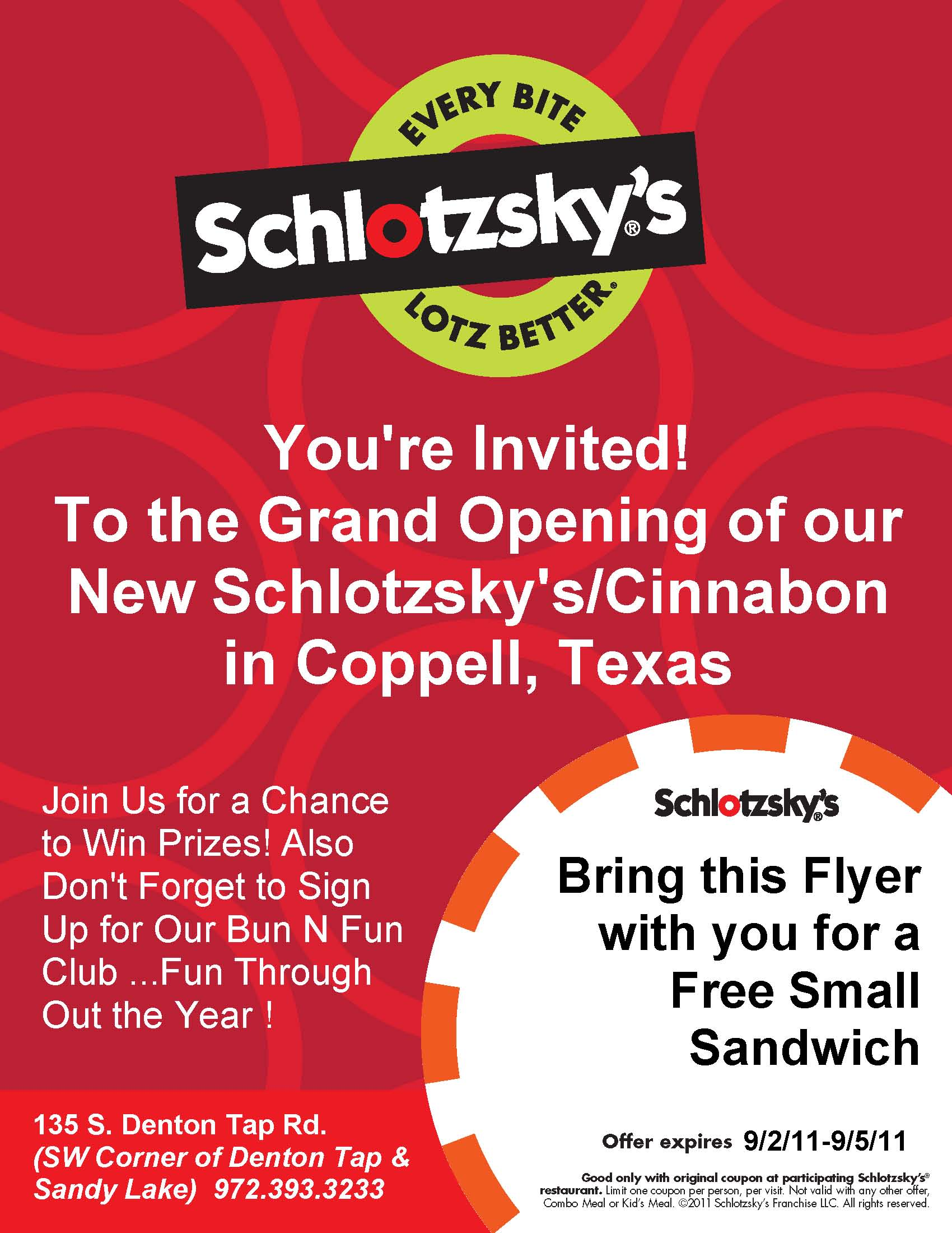 schlotzsky s cinnabon grand opening in coppell tx schlotzsky 39 s. Black Bedroom Furniture Sets. Home Design Ideas